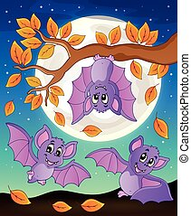 Autumn branch with bats