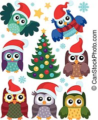 Christmas owls thematic set 1 - eps10 vector illustration.