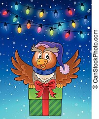 Owl with gift theme image 6 - eps10 vector illustration.