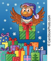 Owl with gift theme image 8 - eps10 vector illustration.
