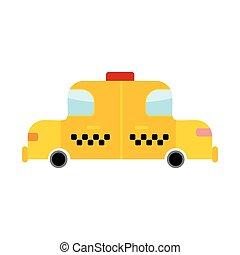 taxi, estilo, aislado, coche, amarillo, Plano de fondo, blanco, caricatura, transporte