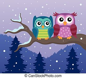 Stylized owls on branch theme image 2