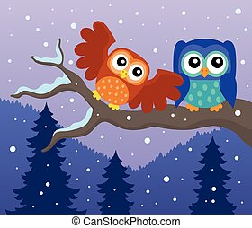 Stylized owls on branch theme image 7