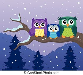 Stylized owls on branch theme image 8