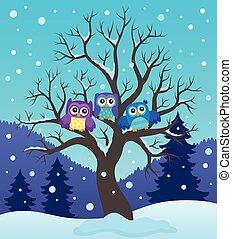 Stylized owls on tree theme image 2