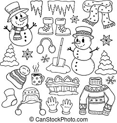 Winter theme drawings 1 - eps10 vector illustration.