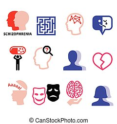 Schizophrenia, mental health, psychology vector icons set -...