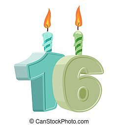 16 years birthday. Number with festive candle for holiday cake. sixteen Anniversary