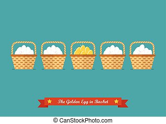 Golden eggs in basket among ordinary eggs. Business concept