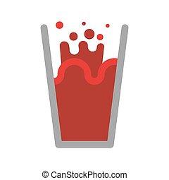 Tomato juice glass isolated. Nectar from tomatoes. Red liquid splashing