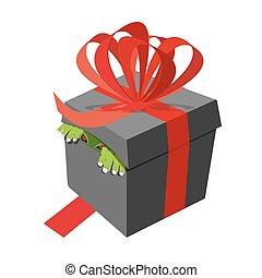 Black gift box. Monster peeking. Ribbons and bows. terrible...