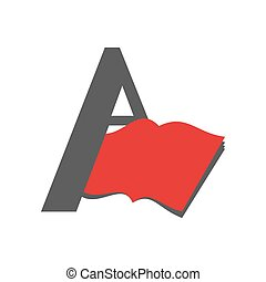Letter A logo. Book emblem. Abstract sign for library or bookstore