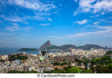 Urban view of Rio de Janeiro city with Sugarloaf Mountain,...