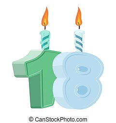 18 years birthday. Number with festive candle for holiday...