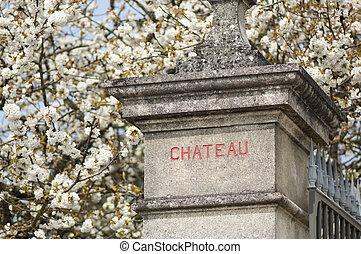 Castle entrance, Vineyard and Chateau, Bordeaux Region, France