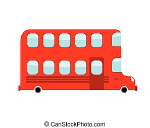 Double-decker cartoon style. london bus isolated. Transport on white background