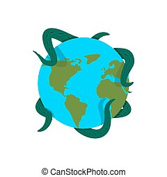 Earth in tentacles of monster. Cthulhu conquest of planet....