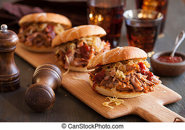 homemade pulled pork burger with caramelized onion and bbq...