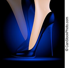 feet in blue shoes - dark background and feet in blue ladys...