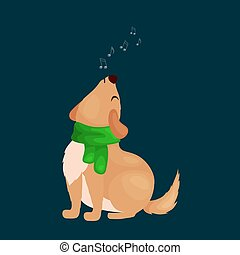 dog singing christmas songs and jingle bells music on winter holiday fun vector illustration