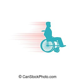 Disabled person in chair wheelchair travels fast. Speed...