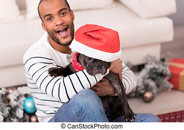 Cute black dog wearing a Santa hat - Santa is here. Cute...