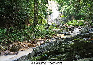 Huai-To Waterfall in famous Krabi seaside town, Thailand. -...