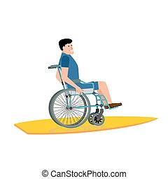 Disabled surfer. Wheelchair on surfboard on white background