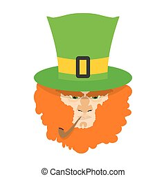 Leprechaun with red beard. St. Patricks Day character. Irish...