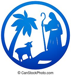 Shepherd and Sheep silhouette icon vector illustration blue...