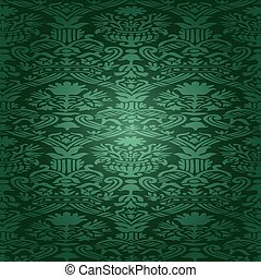 25 - Green Seamless abstract hand-drawn floral pattern,...