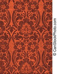 65 - Orange and brown abstract striped floral pattern,...