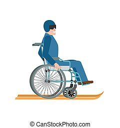 Disabled skiing isolated. Wheelchair ski running on white...