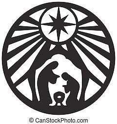 Holy family Christian silhouette icon vector illustration on...