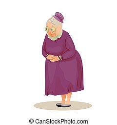 Funny elderly lady with glasses. Grandmother standing with...