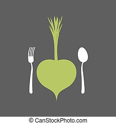 Vegetarian Food logo. Vegetable and cutlery. Fork and spoon...