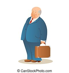 Funny old man with a suitcase. Business elderly man