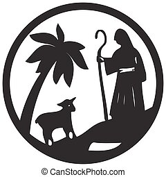 Shepherd and Sheep silhouette icon vector illustration black...