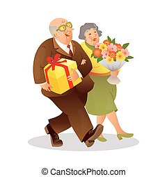 Happy elderly couple with a bouquet of flowers and gift....