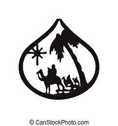 Adoration of the Magi silhouette icon vector illustration on...
