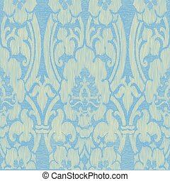 75 - Blue light abstract striped floral pattern, vintage...