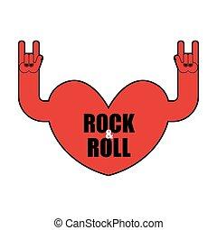 Heart rock logo. Rock and roll hand. Musical emblem