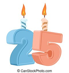 25 years birthday. Number with festive candle for holiday...