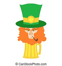 Leprechaun with red beard and beer. St. Patricks Day...