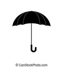 Black umbrella isolated. Accessory of rain on white background.