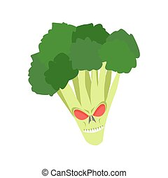 Angry broccoli. Aggressive green vegetable. Dangerous fruit