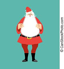 Santa Claus isolated. Granddad in red suit and white beard....