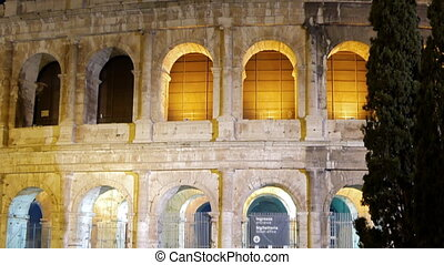 Arches of the Colosseum. Night. Rome, Italy. UltraHD (4K)