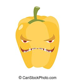 Angry sweet pepper. Aggressive yellow vegetable. Dangerous...