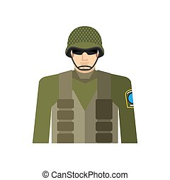 Soldier portrait. Military in protective helmet and flak...